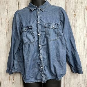 Sonoma Chambray Long Sleeve Button Up Shirt 1X